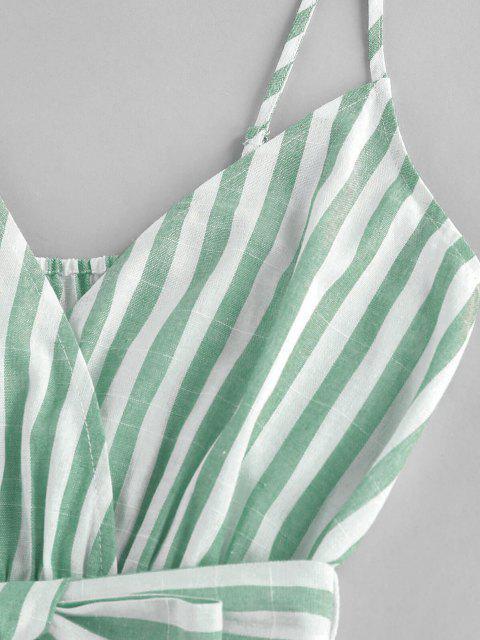 women ZAFUL Striped Belted Cami Wide Leg Romper - LIGHT GREEN M Mobile