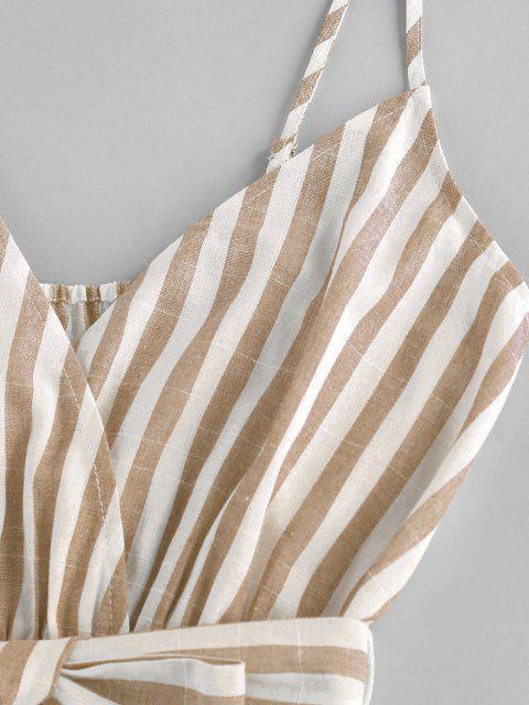 lady ZAFUL Striped Belted Cami Wide Leg Romper - LIGHT COFFEE M Mobile