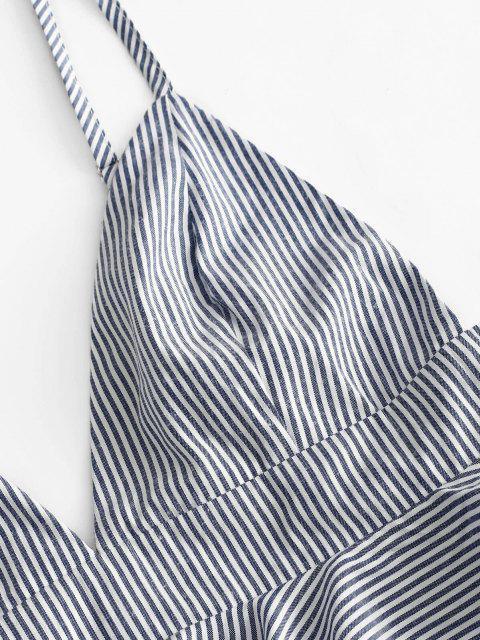 ZAFUL Bralette de Duas Peças com Cinto Listrado - Azul Escuro M Mobile