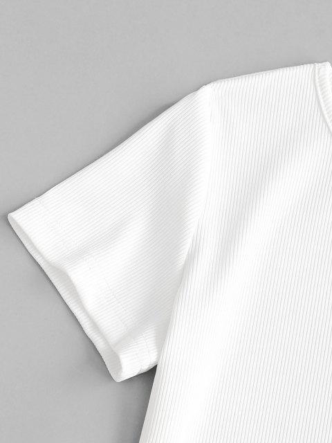 ZAFUL T-shirt Court Côtelé à Bretelle Nouée - Blanc L Mobile