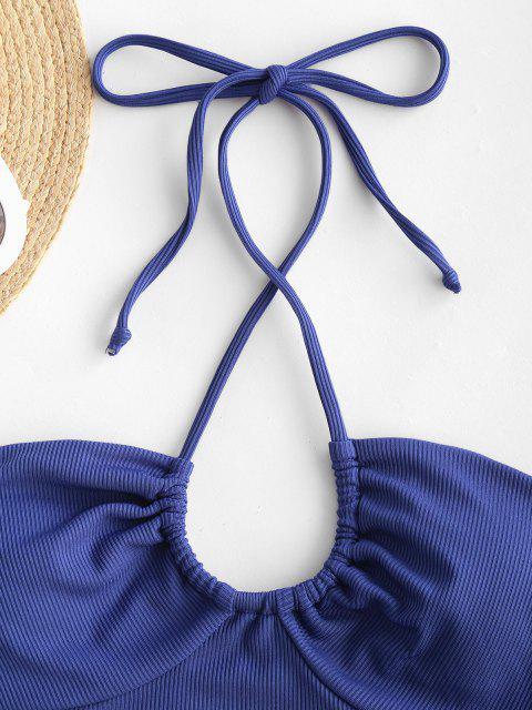 ZAFUL Maillot de Bain Tankini Court Côtelé Fleur à Taille Haute - Bleu profond L Mobile