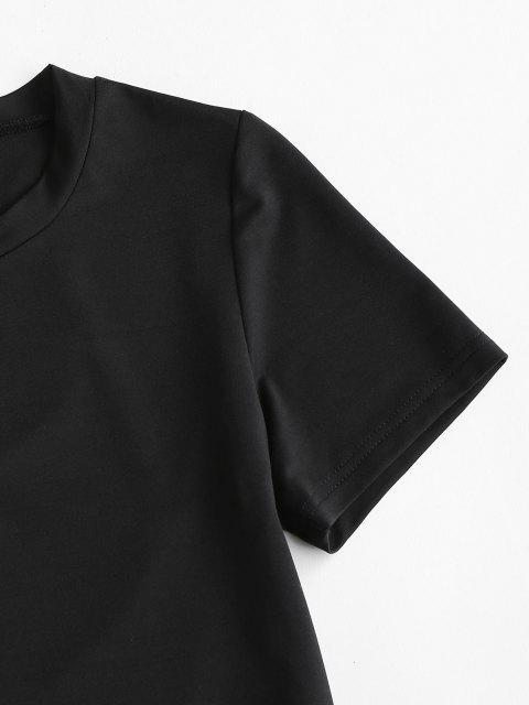 T-shirt Desportivo com Desenho de Entrecruzamento na Manga Curta - Preto S Mobile