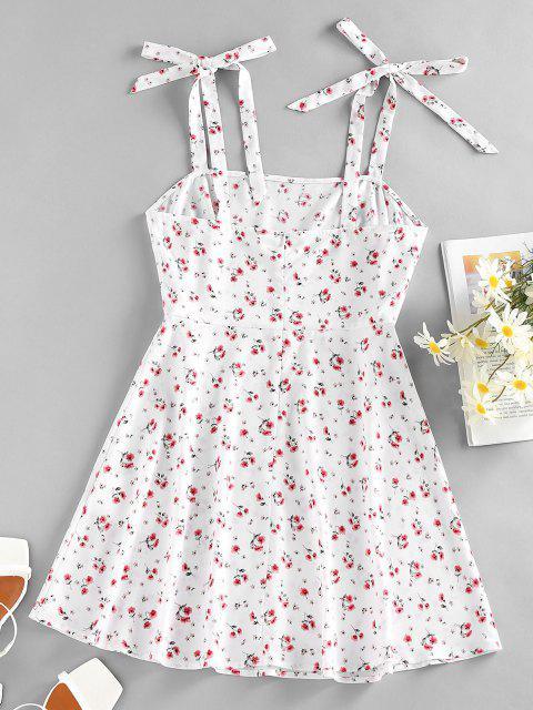 shops ZAFUL Floral Tie Shoulder Mini Summer Dress - WHITE S Mobile