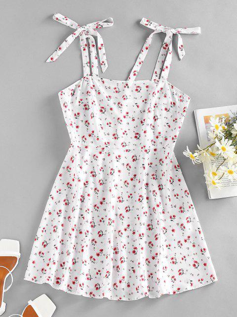 ZAFUL Floral Tie Shoulder Mini Summer Dress - أبيض S Mobile