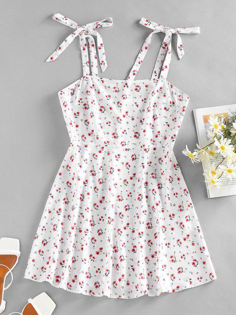 lady ZAFUL Floral Tie Shoulder Mini Summer Dress - WHITE XL Mobile