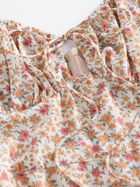 ZAFUL Robe D'Eté Fleurie Nouée à Bretelle à Volants - Multi M Mobile