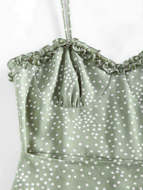 ladies ZAFUL Polka Dot Ruffle Tie Shoulder Overlap Dress - LIGHT GREEN M Mobile