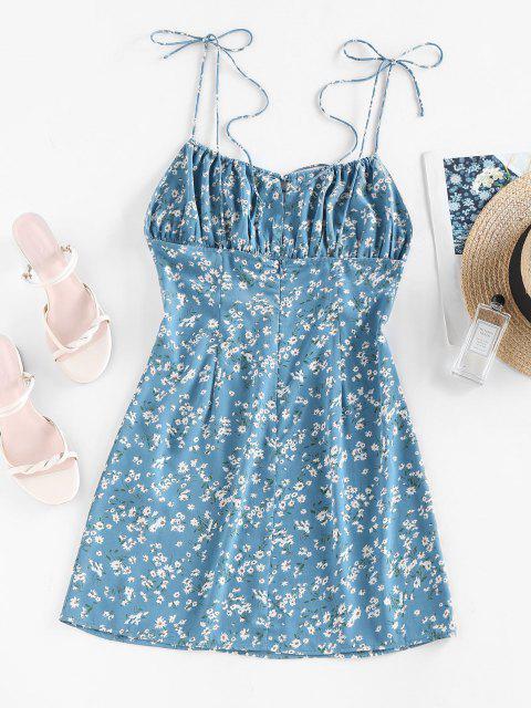 ZAFUL Gebundenes Ditsy Blumen Geraffte Cami Kleid - Hellblau M Mobile