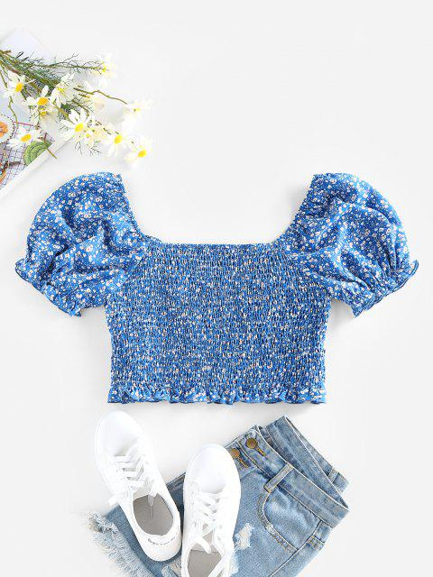 ladies ZAFUL Ditsy Print Puff Sleeve Ruffle Smocked Blouse - BLUE S Mobile