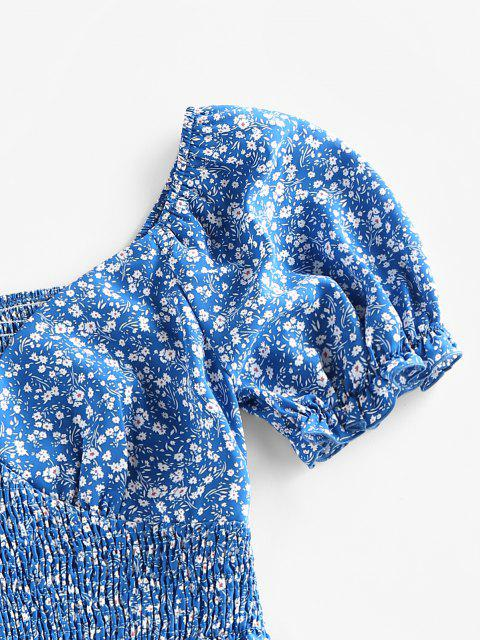 fashion ZAFUL Ditsy Print Puff Sleeve Ruffle Smocked Blouse - BLUE XL Mobile