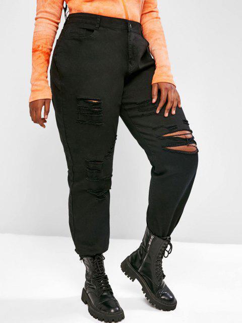 Übergröße Riss Jeans mit Ausgefranstem Saum und Hoher Taille - Schwarz L Mobile