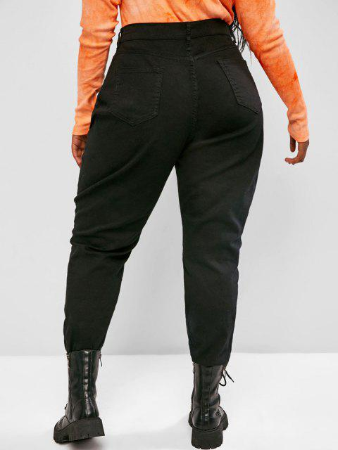 buy Plus Size Ripped Frayed Hem High Rise Pencil Jeans - BLACK 4XL Mobile