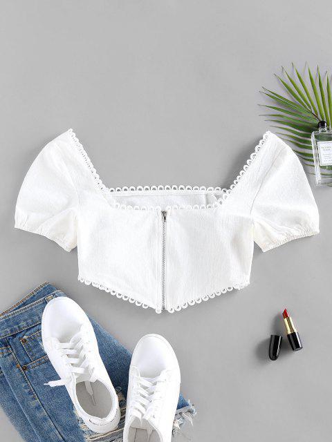 womens ZAFUL Back Zipper Square Neck Cropped Blouse - WHITE S Mobile