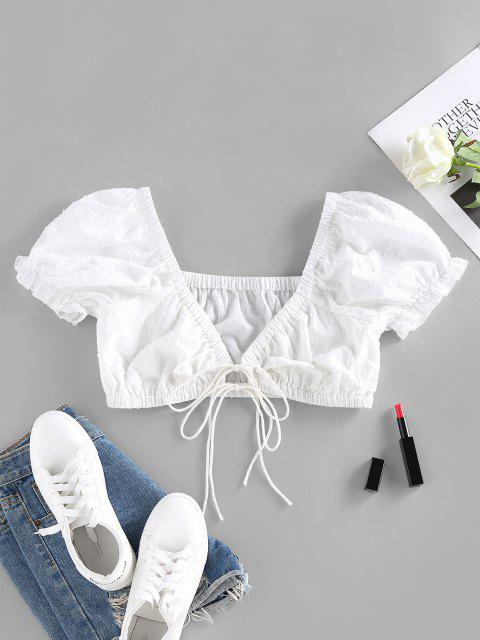 unique ZAFUL Dotted Ruffled Puff Sleeve Tie Front Crop Blouse - WHITE S Mobile