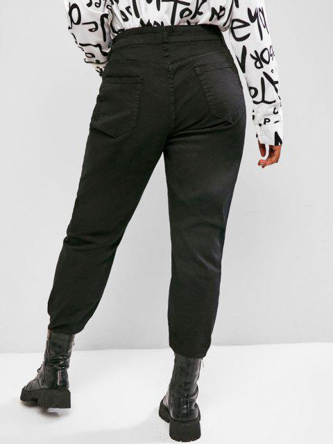 outfit Plus Size Button Fly Frayed Hem High Rise Jeans - BLACK 2XL Mobile