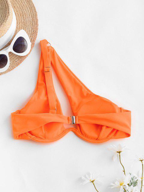 Gepolstertes Einziger Schulter Blumendruck Bikini Oberteile - Dunkles Orange M Mobile