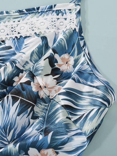 online Plus Size Floral Leaf Guipure Lace Panel Satin Romper - BLUE 4XL Mobile