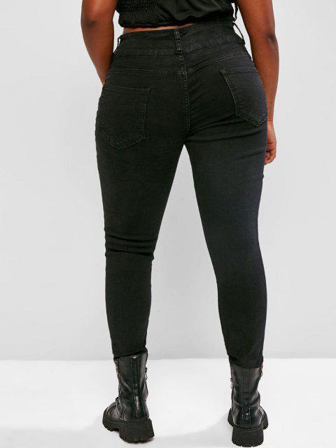 buy Plus Size Skinny Raw Hem Distressed Jeans - BLACK 3XL Mobile