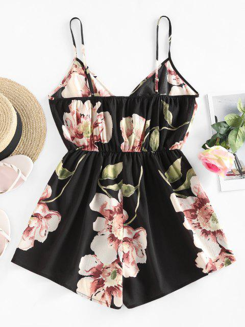 shop ZAFUL Flower Surplice Cami Wide Leg Romper - BLACK S Mobile