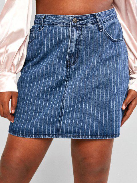 Mini Jupe Fine de Grande Taille en Denim - Bleu L Mobile