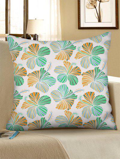 Floral Pattern Linen Square Pillowcase - Mint Green W18 X L18 Inch