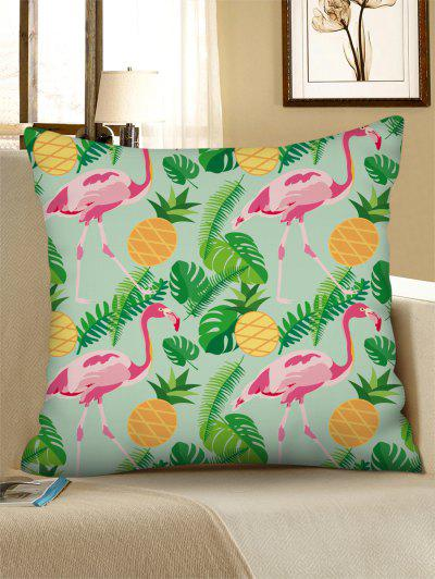 Tropical Flamingo Pineapple Printed Linen Pillowcase - Green Peas W18 X L18 Inch