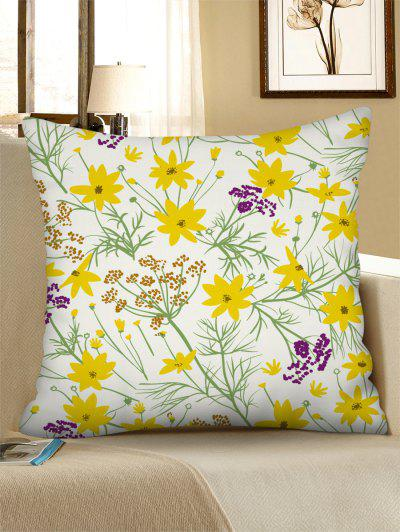 Flower Printed Linen Square Pillowcase - Rubber Ducky Yellow W18 X L18 Inch