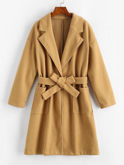 Pockets Belted Wool Blend Long Coat - Coffee S