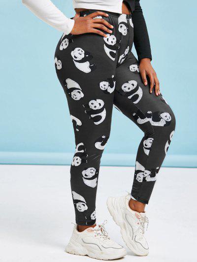 Plus Size Panda Print Skinny Leggings - Black 5x