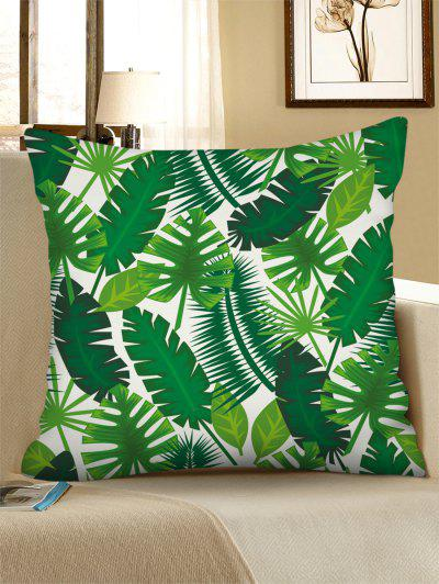 Printed Tropical Leaves Linen Square Pillowcase - Medium Spring Green W18 X L18 Inch