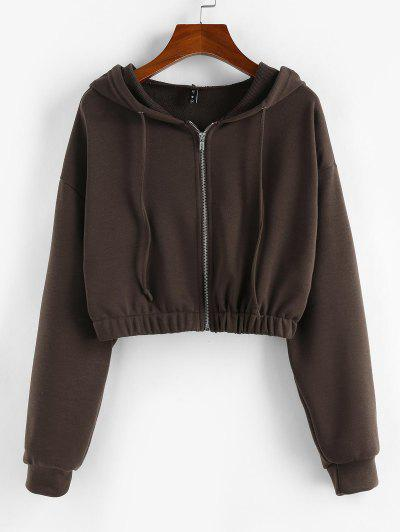 ZAFUL Zip Up French Terry Cropped Hoodie - Mocha M