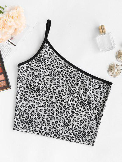 Leopard Binding One Shoulder Cami Top - Gray S