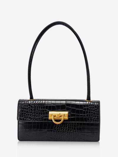 Rectangle Retro Shoulder Bag - Black