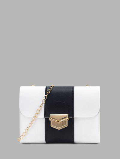 Colorblock Chain Rectangle Crossbody Bag - White