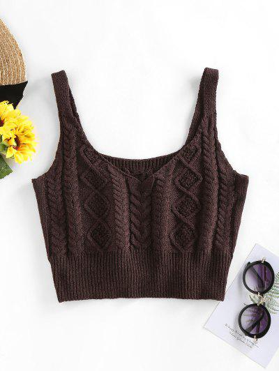 ZAFUL Cable Braided Knit Crop Sweater Tank Top - Deep Coffee M