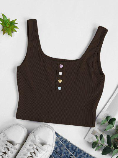 Ribbed Heart Shaped Button Crop Tank Top - Deep Coffee M