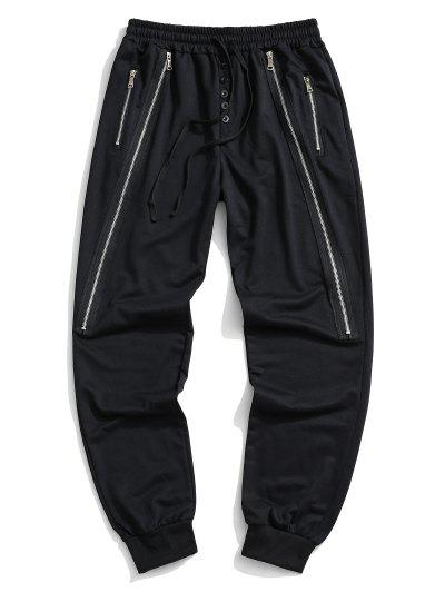 Button Zipper Embellished Jogger Sweatpants - Black M