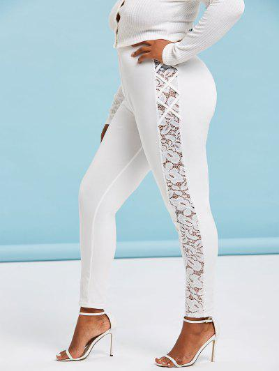 Plus Size High Waisted Lace Insert Skinny Leggings - White 5x