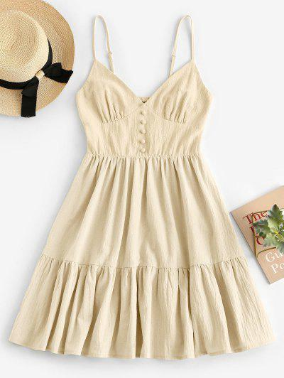 ZAFUL Button Embellished Smocked Flounce Hem Cami Dress - Light Yellow M