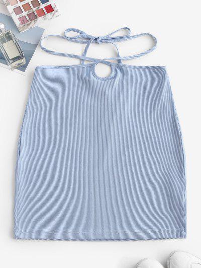 ZAFUL Ribbed Straps Tie Bodycon Skirt - Light Blue S