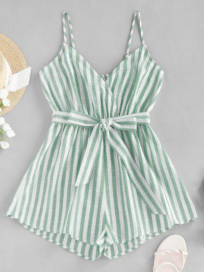 ZAFUL Striped Belted Cami Wide Leg Romper - Light Green M