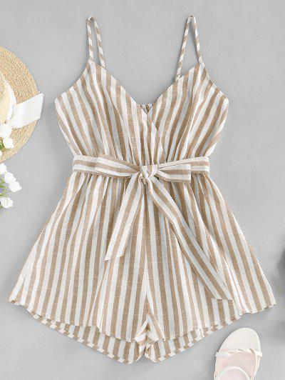 ZAFUL Striped Belted Cami Wide Leg Romper - Light Coffee S