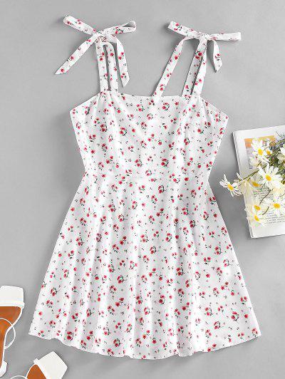 ZAFUL Floral Tie Shoulder Mini Summer Dress - White M