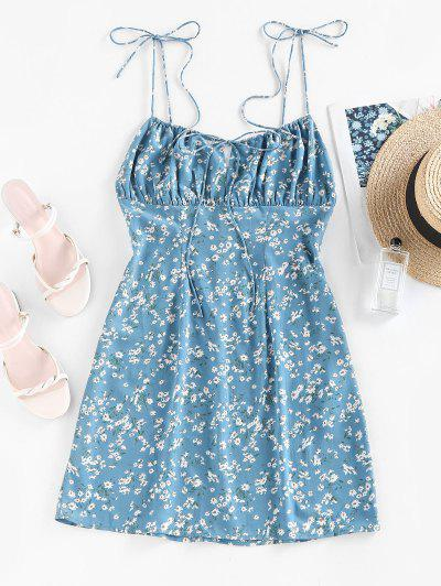 ZAFUL Ditsy Floral Ruched Tie Strap Cami Dress - Light Blue S
