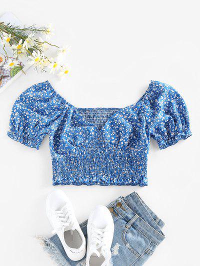 ZAFUL Ditsy Print Puff Sleeve Ruffle Smocked Blouse - Blue L