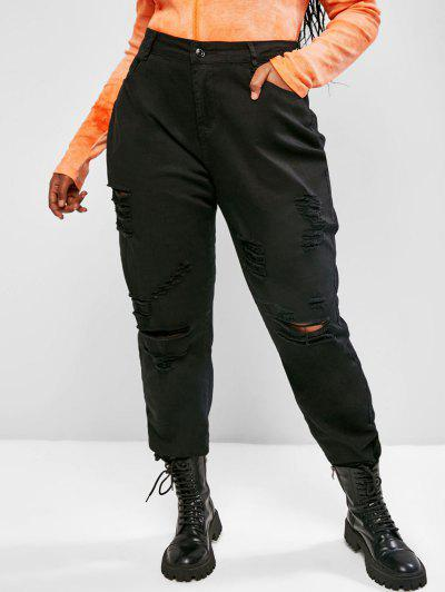 Plus Size Ripped Frayed Hem High Rise Pencil Jeans - Black 5xl