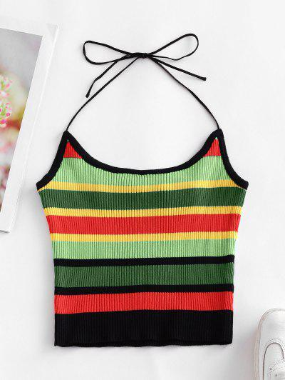 ZAFUL Halter Knitted Colorful Stripes Crop Top - Deep Green L