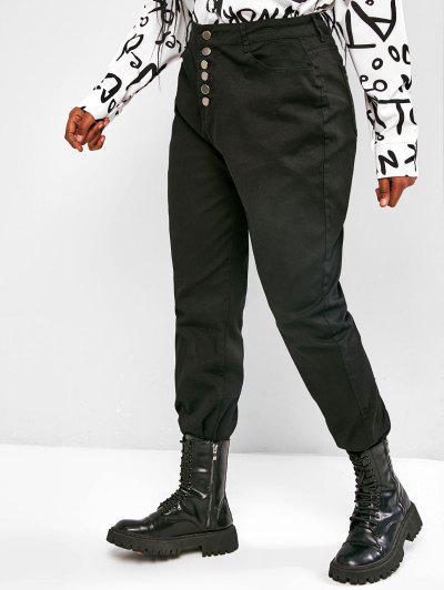 Plus Size Button Fly Frayed Hem High Rise Jeans - Black Xl