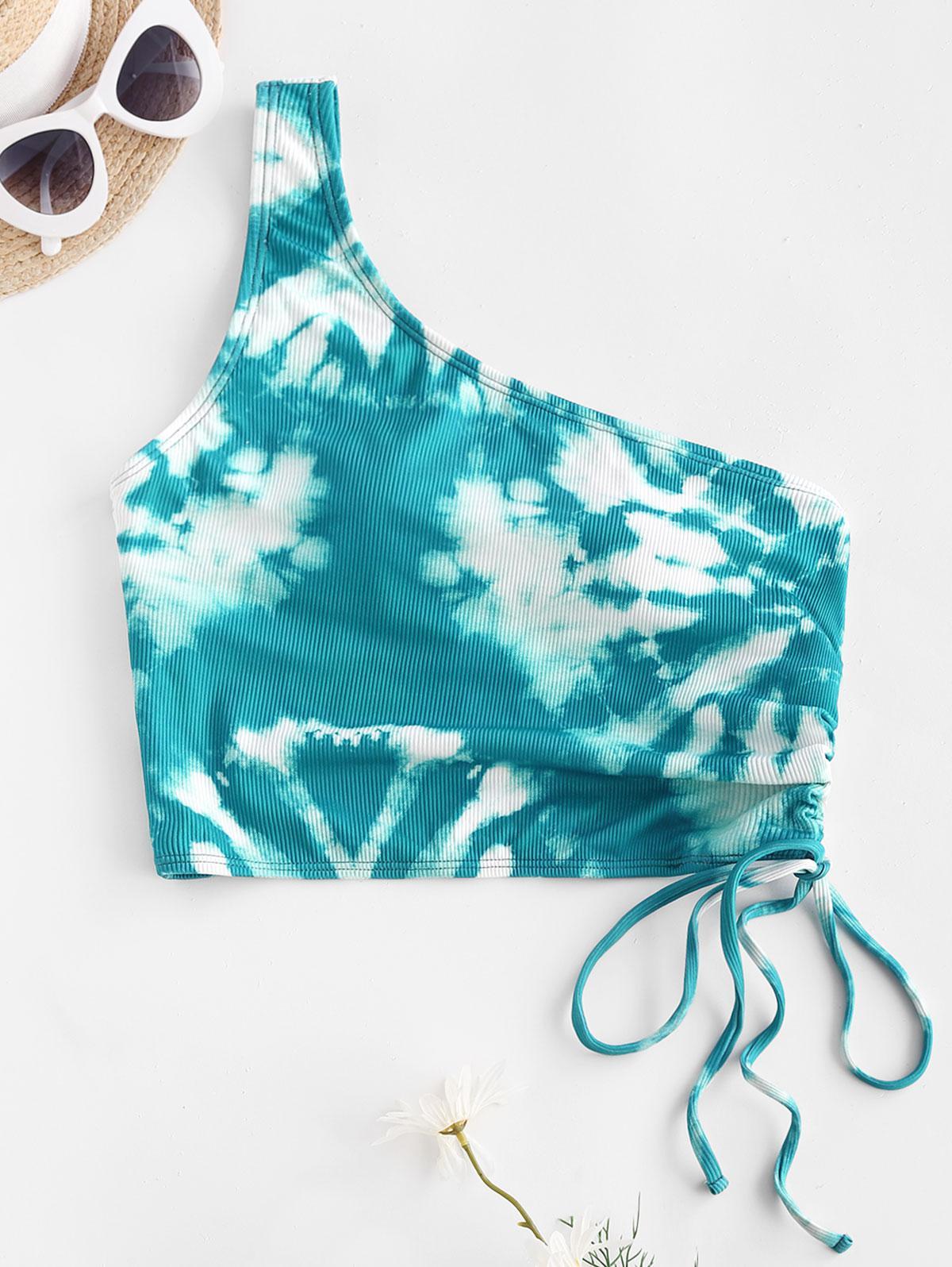 ZAFUL Tie Dye Ribbed Cinched One Shoulder Bikini Top