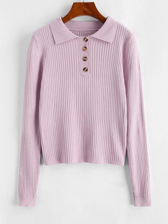 womens Ribbed Button Front Slim Knitwear - LIGHT PURPLE S